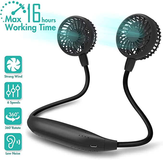 Portable Personal USB Neck Fan Hands Free Mini Air Conditioner Mute Cooling Fans