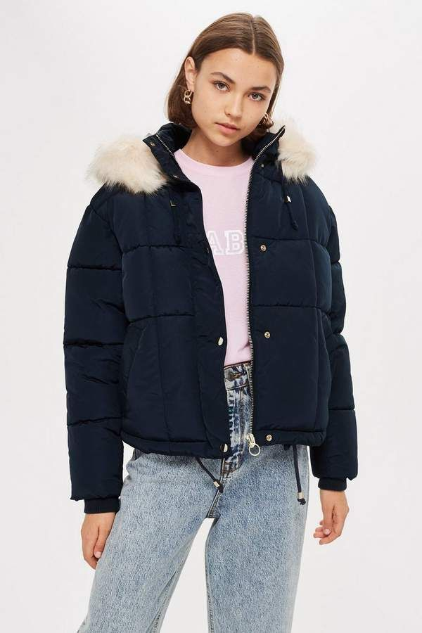 03efd86ccd Topshop PETITE Navy Faux Fur Quilted Puffer Jacket