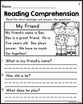 Kindergarten Reading Comprehension Passages - Set 1 FREEBIE | ★Kindergarten, First Grade ...