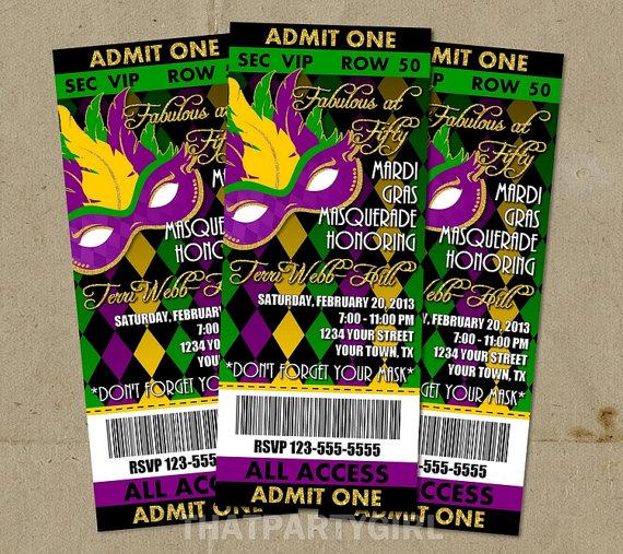 mardi gras masquerade party ticket style invitations  diy u print, invitation samples