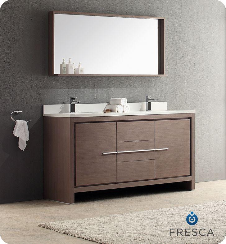 Allier 60 Inch Gray Oak Modern Double Sink Bathroom Vanity With