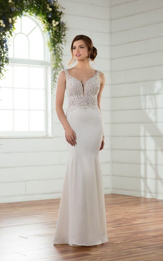 D2394 Sleek Column Wedding Gown with Illusion Back by Essense of ...