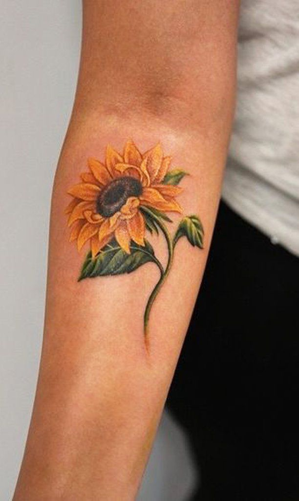 Photo of Colorful Watercolor Sunflower Flower Forearm Tattoo Ideas for Women  ideas linda…