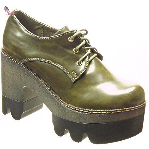 4a2e6fdb29d45 Angkorly - Chaussure Mode Derbies Bottine low boots plateforme femme verni  Talon haut bloc 10.5 CM