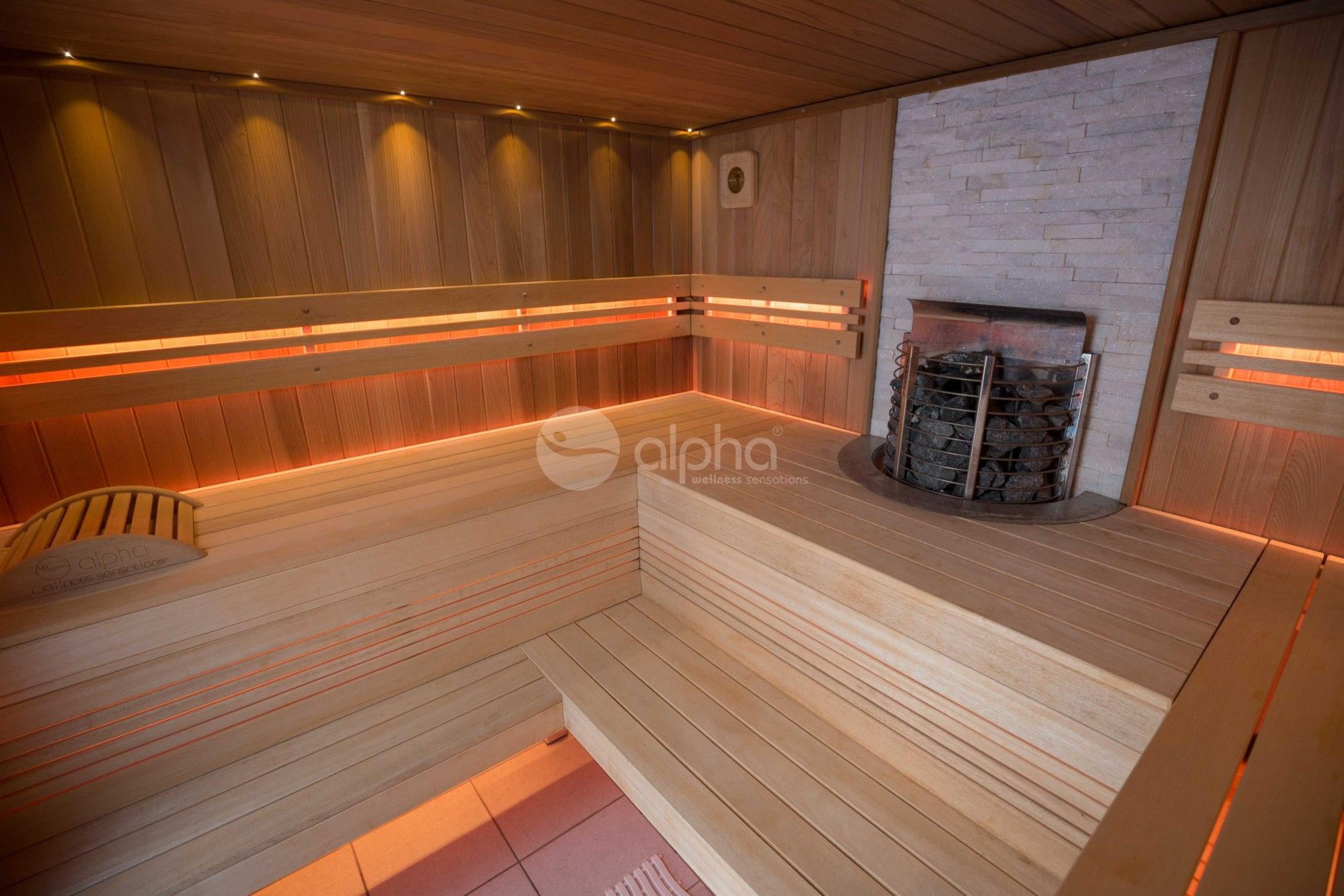 Sauna Led Traditional Sauna With Led Backrests And Natural Stone Finishing