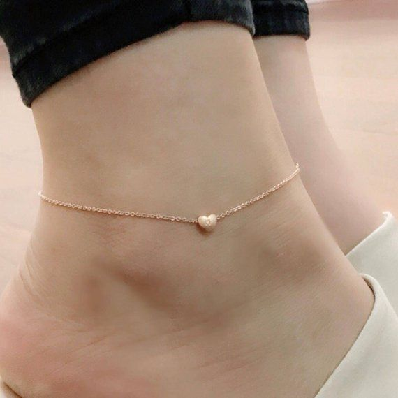 Joycuff Initial Anklets for Women Her Girl 18K Gold Plated Flat Marina Link Anklet Cute Dainty Delicate Tiny Letter Fashion Trendy Heart Unique Ankle Bracelet Personalized Handmade Beach Jewelry