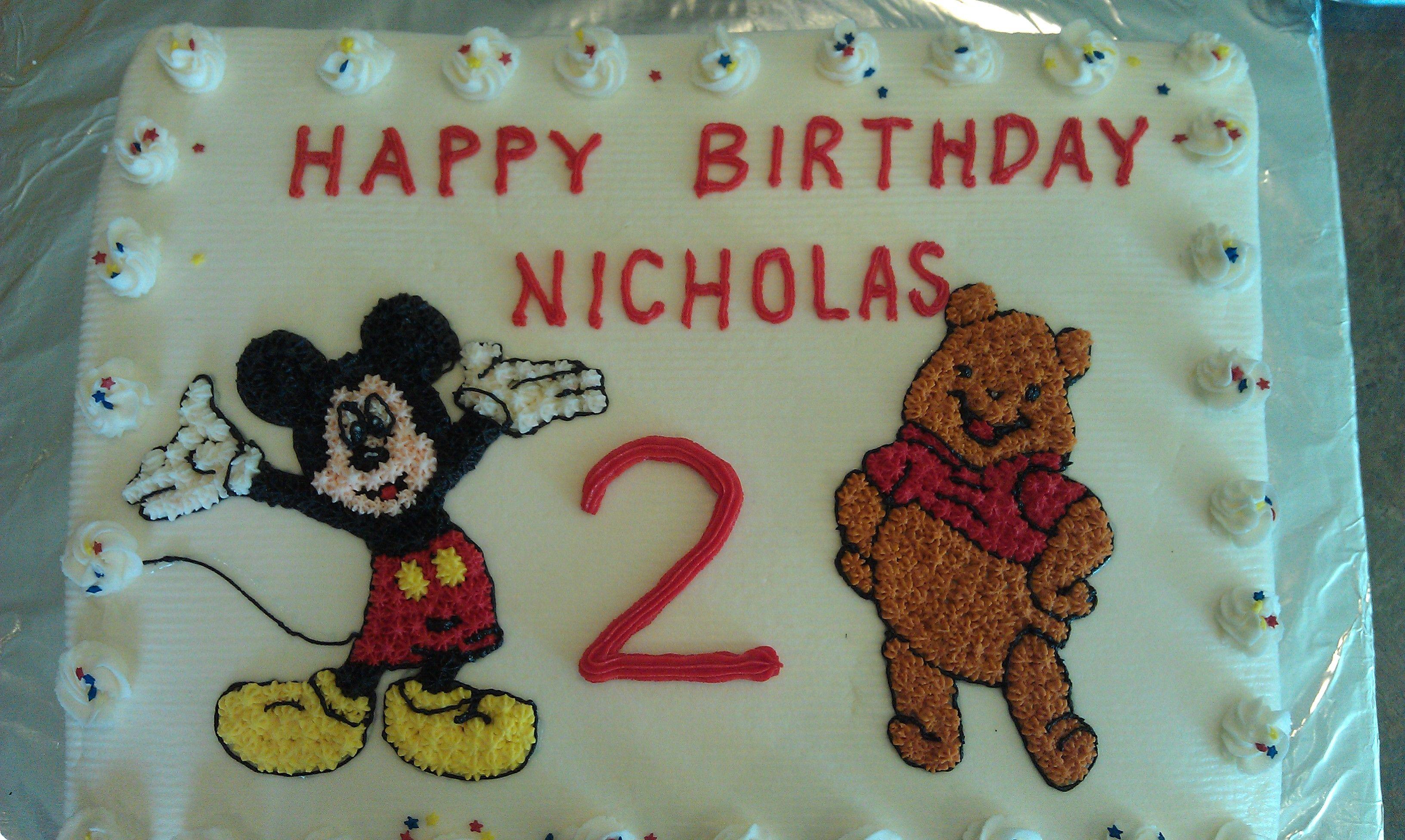 Mickey and Winnie the Pooh cake. Winnie the pooh cake