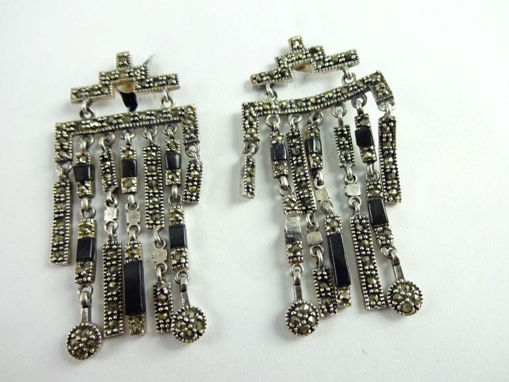 """EARRINGS Elegant Dancing Vintage Sterling Silver 925 Marcasite Long 1.75"""" Dangle #ChandelierDangles"""