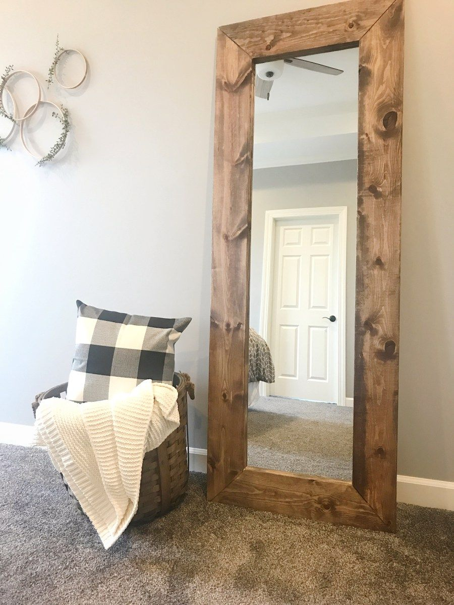 how to build a diy wood mirror frame hallie lane wood framed mirror home decor mirrors. Black Bedroom Furniture Sets. Home Design Ideas