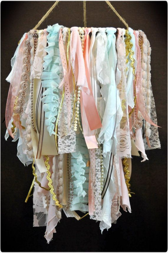 Photo of Shabby Chic Fabric Double Tier Chandelier, Lace and Ribbon Chandelier, Shabby Chic Nursery Decor, Fabric Ribbon Mobile, Rustic Wedding Decor