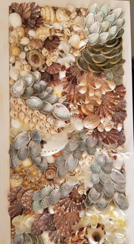 Seashell Wall Art Mosaic Unique Sea Shell Decor Beach Decor Coastal Wall Art In 2020 Seashell Wall Art Sea Shell Decor Shell Decor