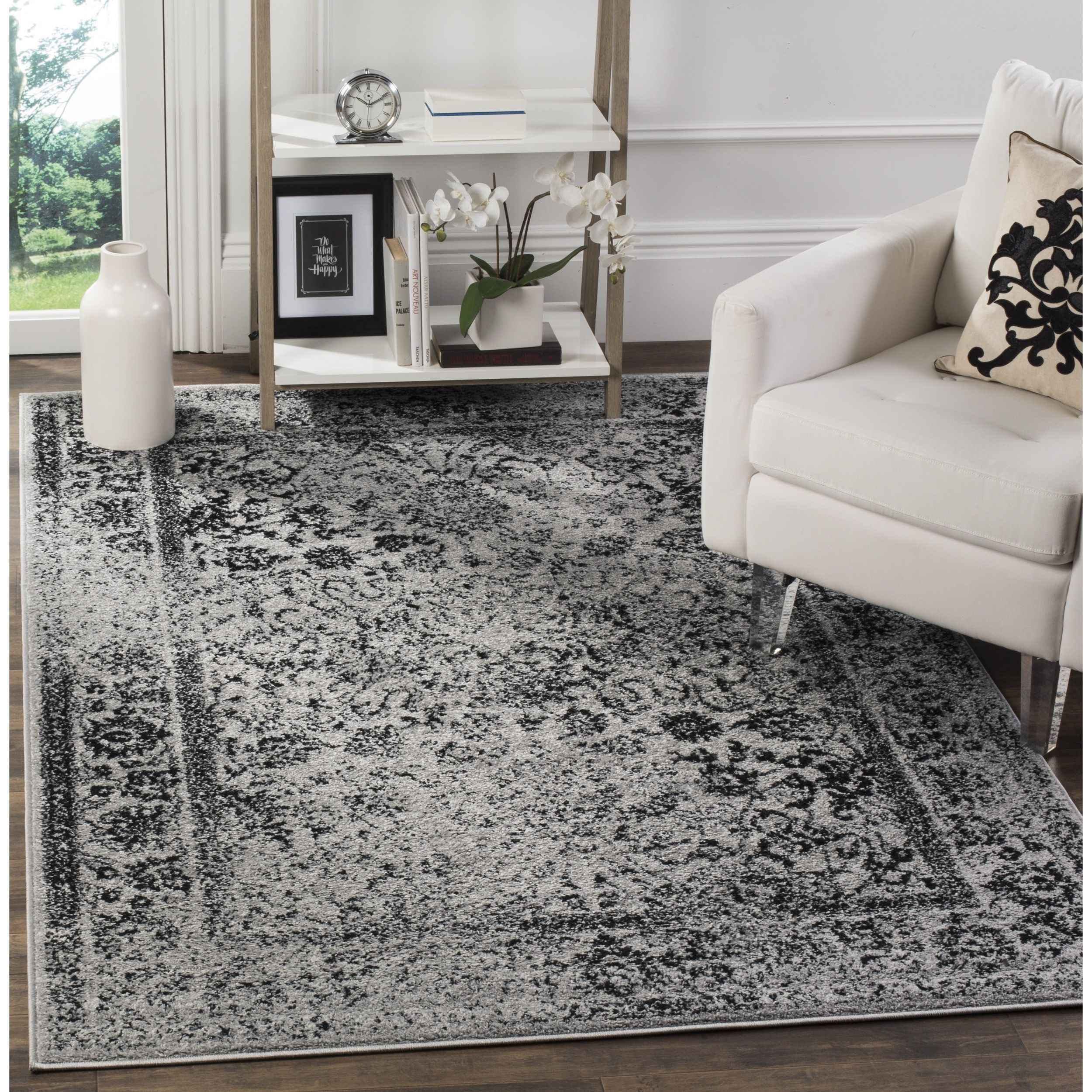 Safavieh Adirondack Vintage Grey Black Rug 10 Square Adr109b 10sq Size 10 X 10 Polypropylene Oriental Distressed Rugs Black Area Rugs Black Rug