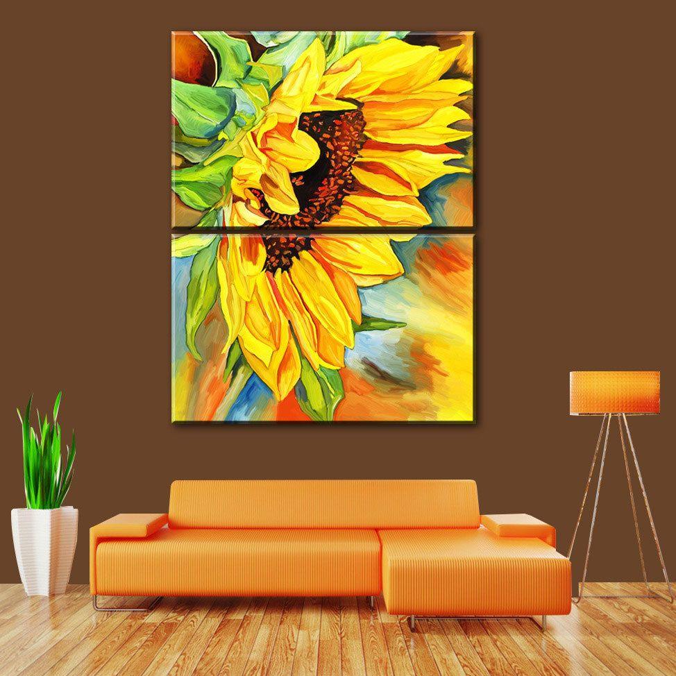 2แผงที่ทันสมัยพิมพ์ภาพวาดดอกทานตะวันcuadrosภาพศิลปะบนผืนผ้าใบดอกไม้ ...