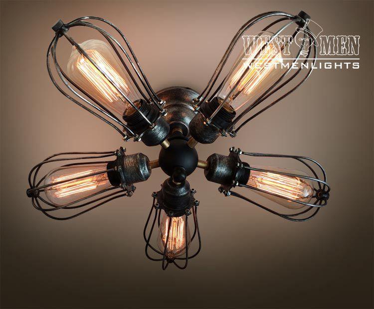 Globe 5 lights cage flush mount ceiling light for the home pinterest