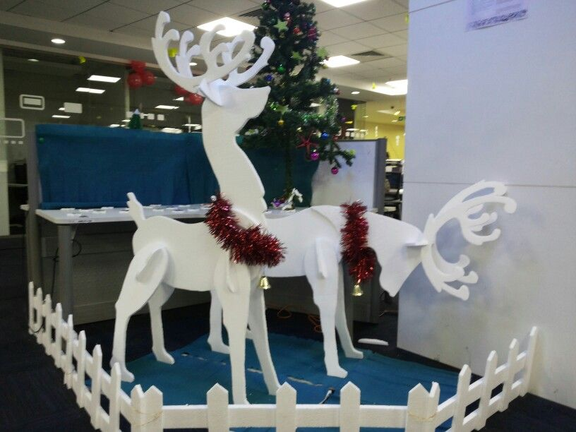 Thermocol Reindeers Christmas Decorations Decor Project Christmas