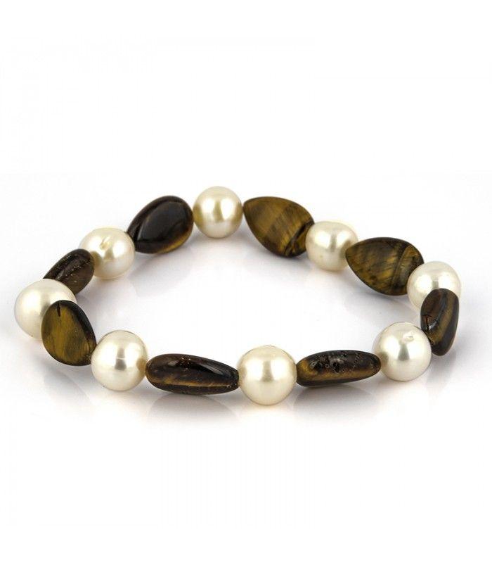 90c0027a5e61 Pulsera de perlas cultivadas 9mm y ojos de tigre ovales en subasta -  Subastas Regent s