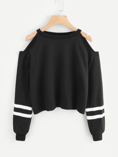 Photo of Strapless sweatshirt with stripes – German romwe