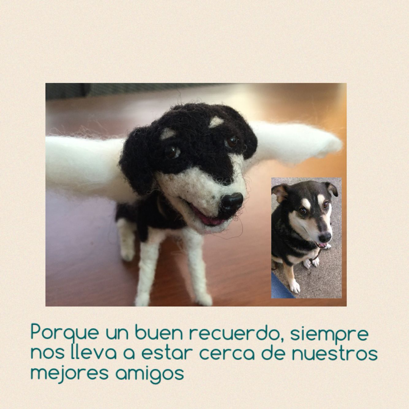 A little dog angel Needle felting Corazón de Lana