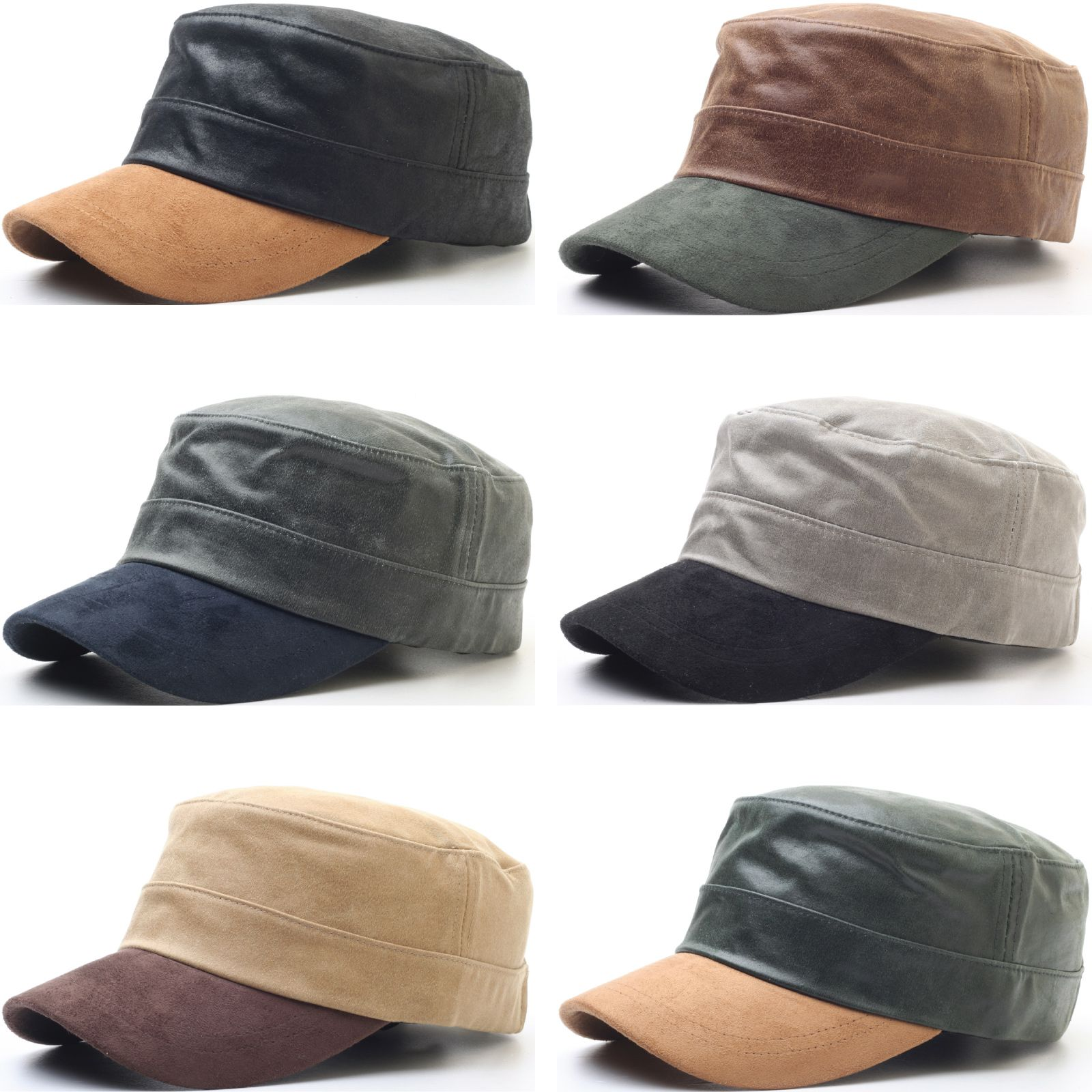 4d24d5e80ce A67 New Antique Faux Leather Style Army Cap Color Suede Brim Cadet Military  Hat