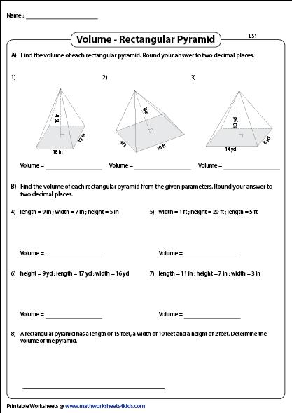 Volume of Rectangular Pyramids   Printable Worksheets ...