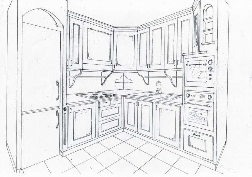 Disegno Tecnico in 3d Realizzato a Mano della Cucina in Finta ...
