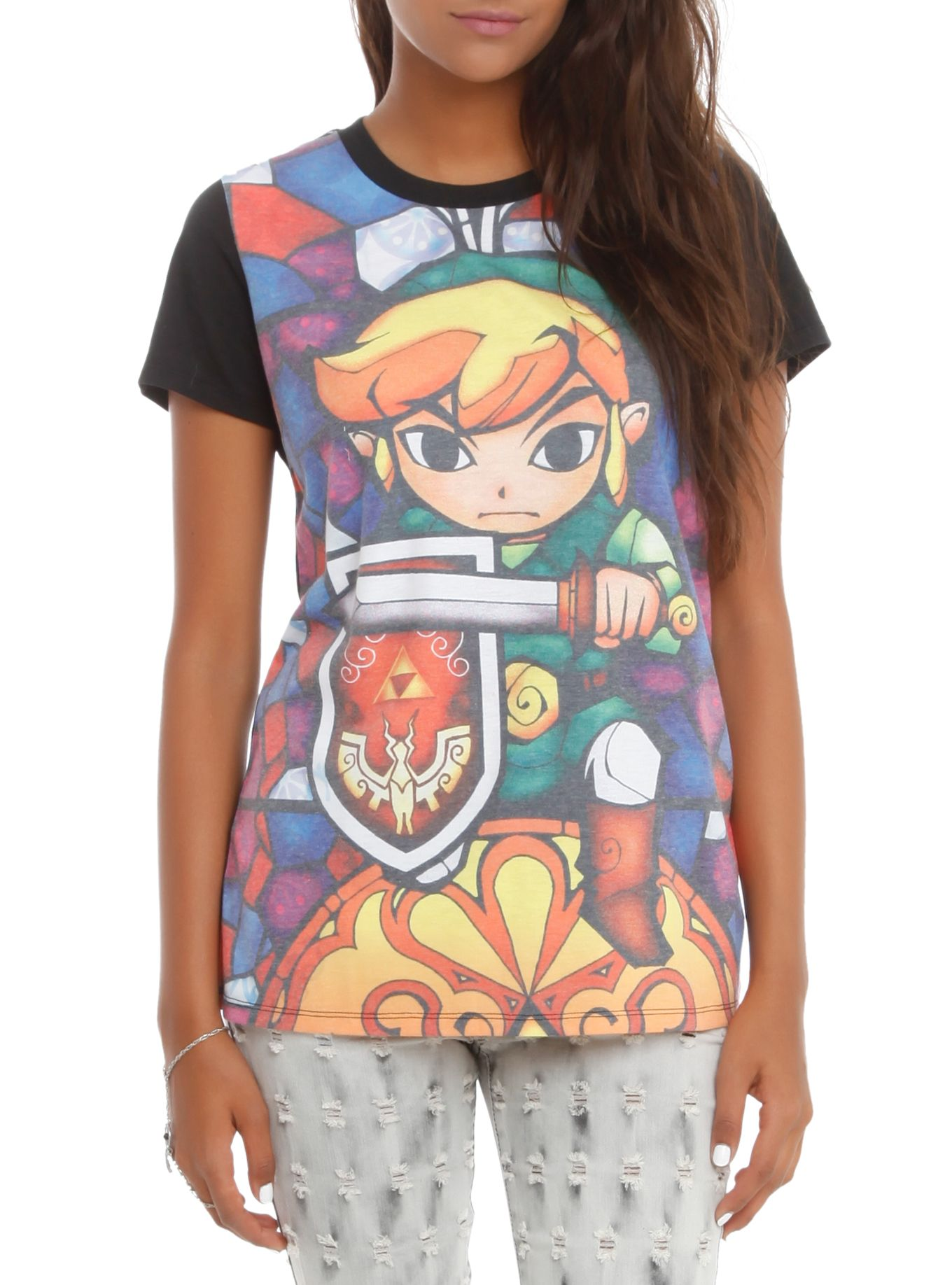 Nintendo The Legend Of Zelda: The Wind Waker Stained Glass Girls T-Shirt | Hot Topic