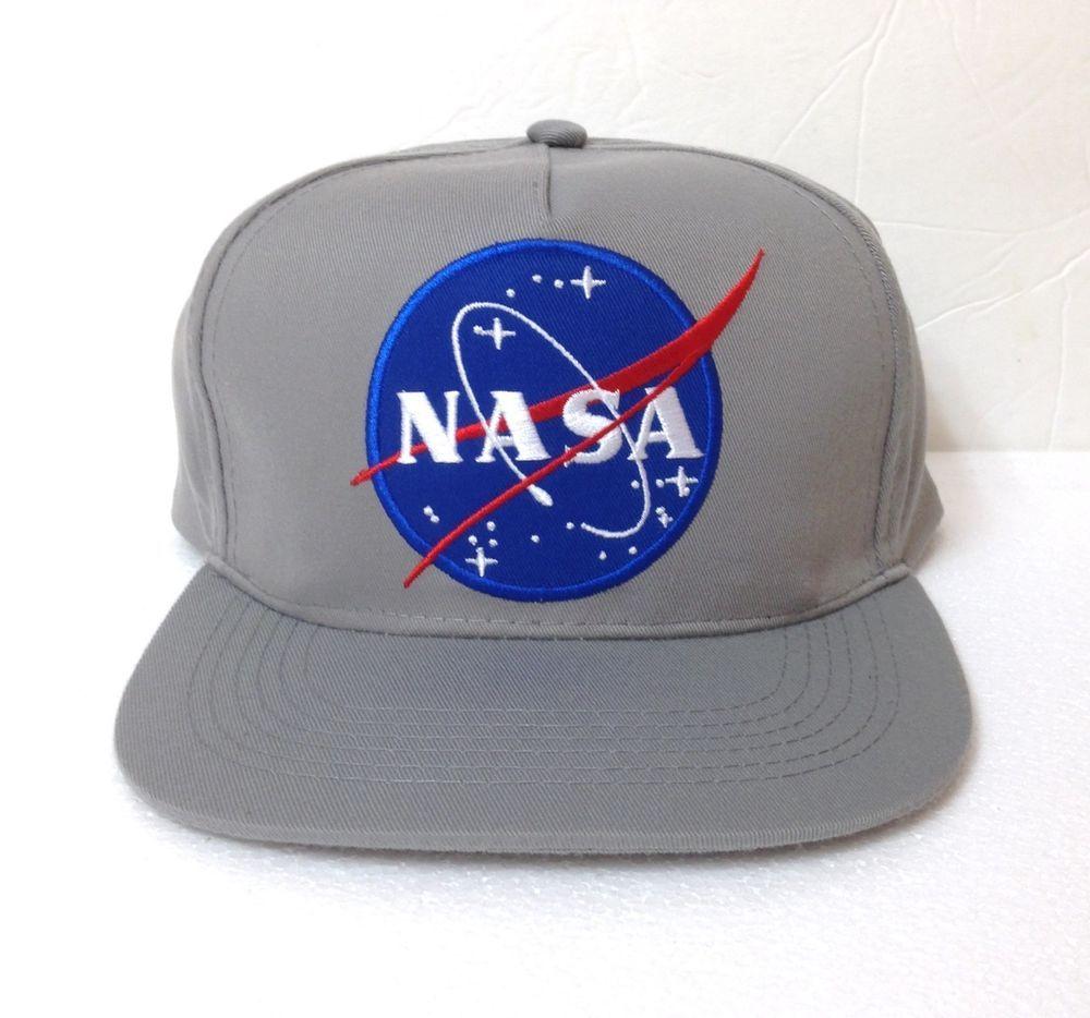 5af8f8b79acfe NASA SNAPBACK HAT Gray Blue BIG PATCH LOGO flat bill space astronaut  Men Women  Unbranded  BaseballCap