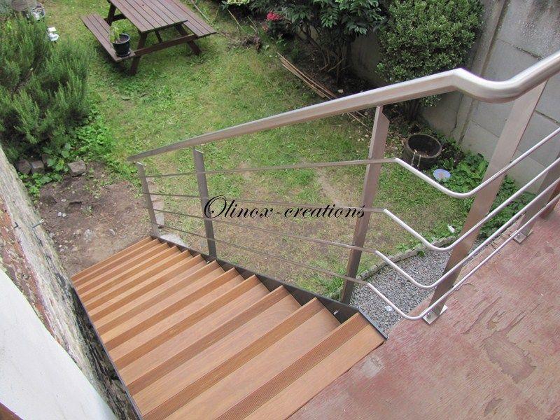Escalier extérieur marches avec anti dérapant Terrasse pilotis