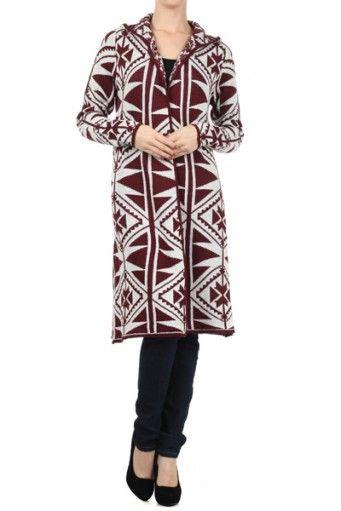 Aztec tribal printed, long, long sleeve open hooded sweater.