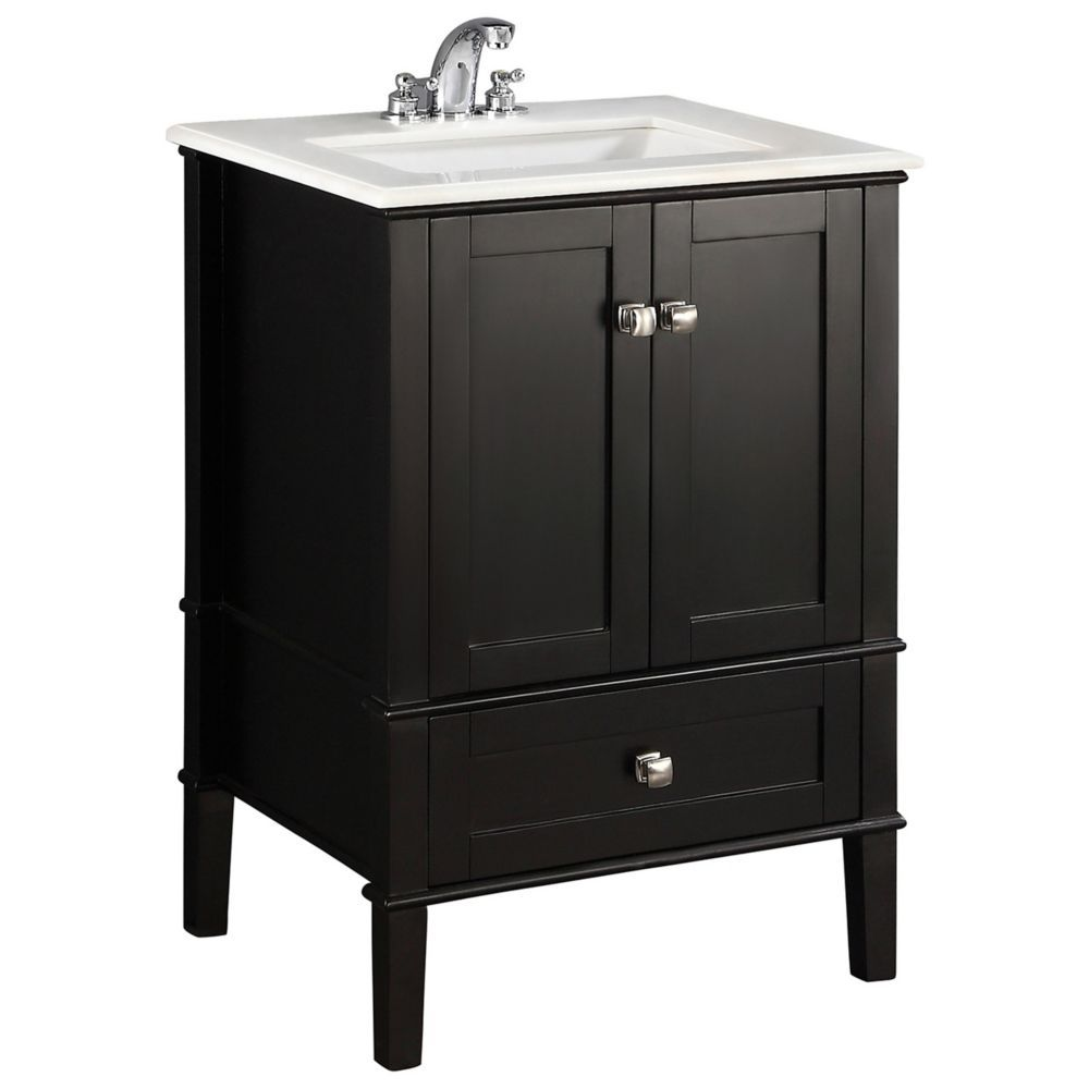 Chelsea 24-inch W Vanity in Black with Quartz Marble Top ...