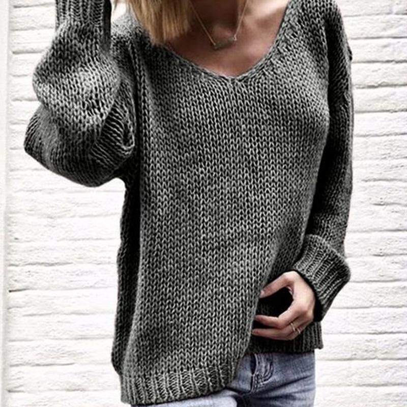 ProductName V Neck Long Sleeve Plain Knitting Casual Sweaters Brand Shesideshop SKU 1A1A8C294791 Gender Women Style Casual Occasion DailyLife Material Polyester Decoration Plain PleaseNote:Alldimensionsaremeasuredmanually withadeviationof1to3cm Sleeve_length Bust inch cm inch cm S 24 60 36 92 M