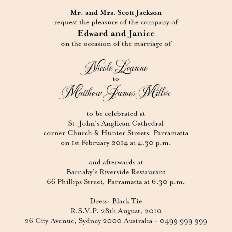 Proper Wedding Invitation Wording For Deceased Parents