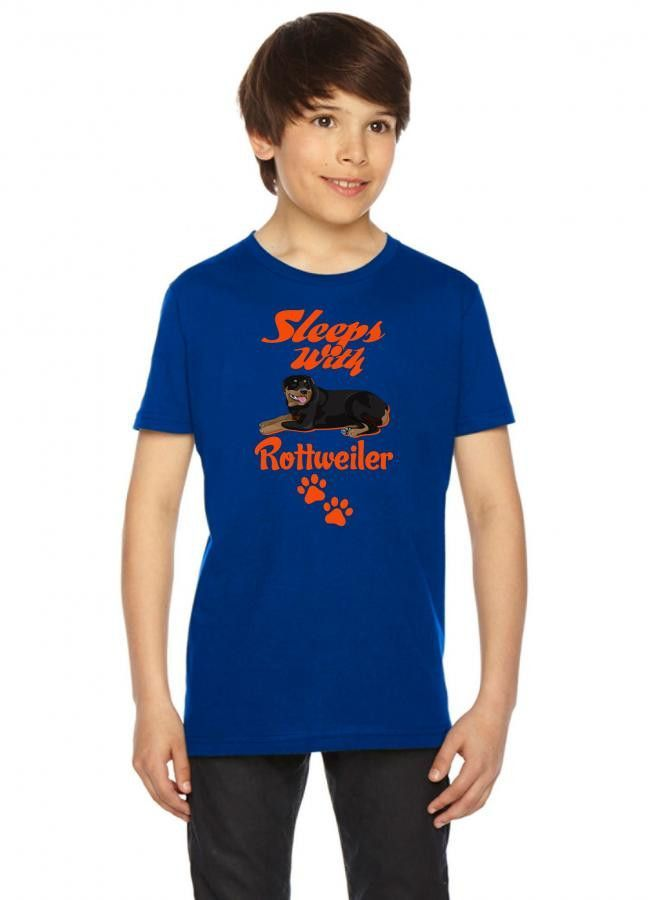 sleeps with rottweiler Youth Tees