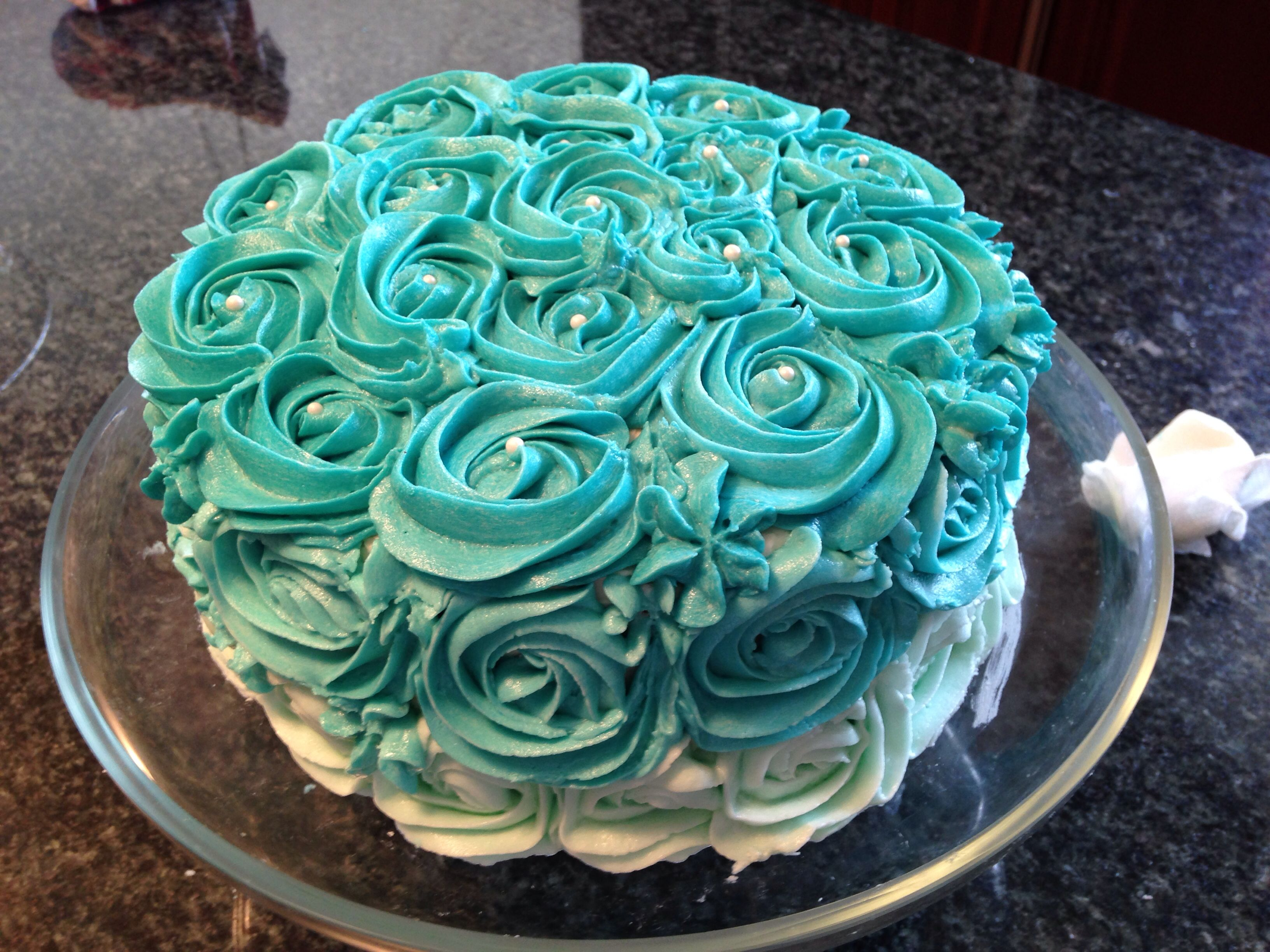 Teal ombre rose cake decoration | Cake decorating, Cake ...