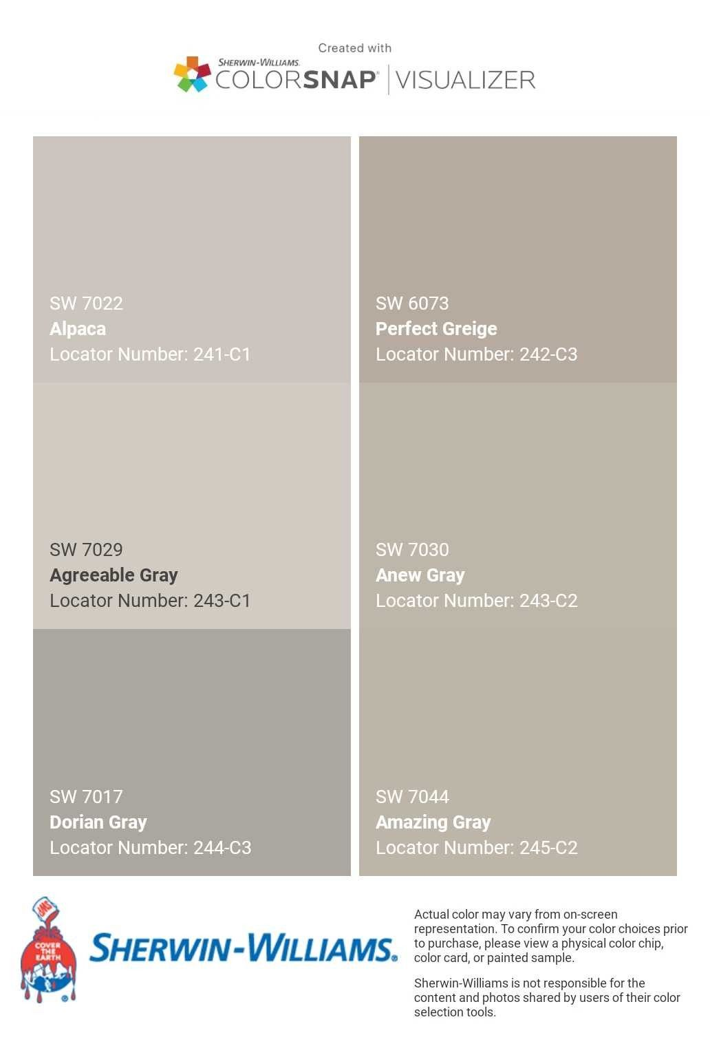 I Just Created This Color Palette With The Sherwin Williams Colorsnap Visualizer App On My Andro Anew Gray Agreeable Gray Sherwin Williams Greige Paint Colors