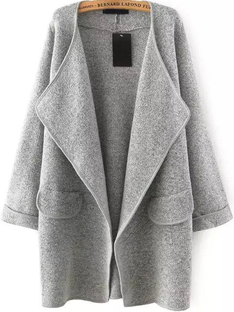 Grey Lapel Long Sleeve Loose Sweater Coat Shein Sheinside Gray Sweater Coat Loose Sweater Sweater Coats