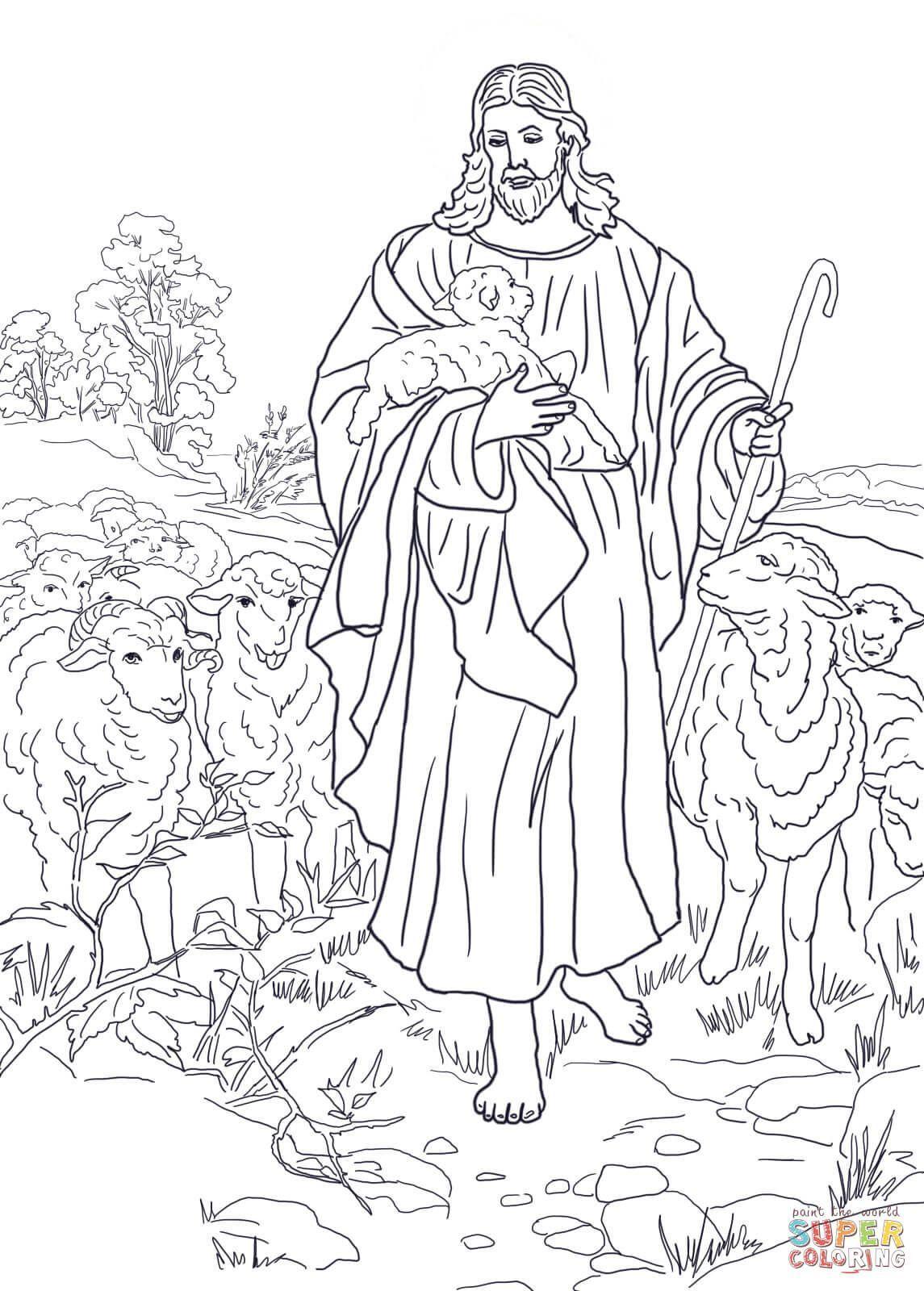 Jesus Is The Good Shepherd Coloring Page Free Printable Dibujos De Jesus Dibujos Dibujos Animados A Lapiz [ 1600 x 1145 Pixel ]