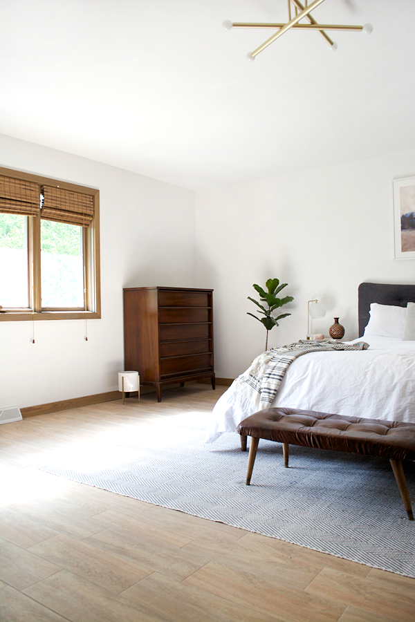 Wood Look Tile Floors in a Modern Boho Bedroom | Small ...