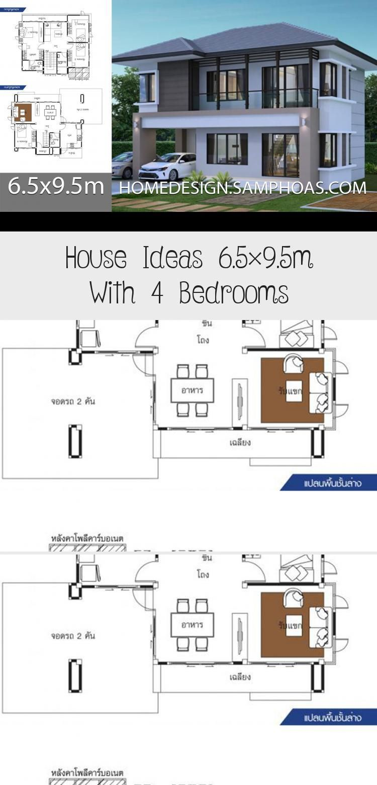 House Ideas 6 5x9 5m With 4 Bedroomshouse Description Ground Level One Bedroom One Car Parking Living Room Dining In 2020 Floor Plan 4 Bedroom House Modern Bedroom