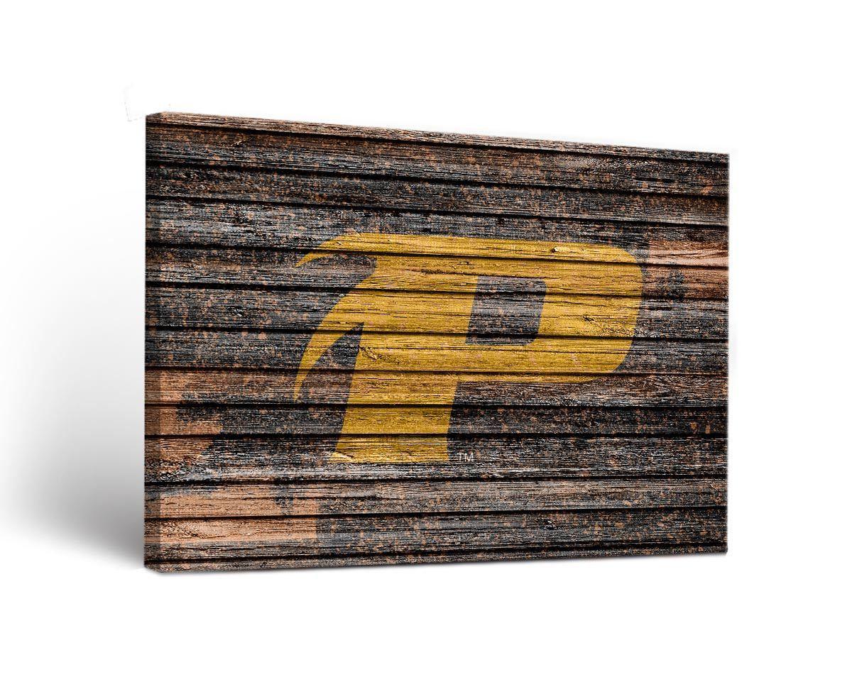Purdue calumet peregrines weathered wood canvas wall art print