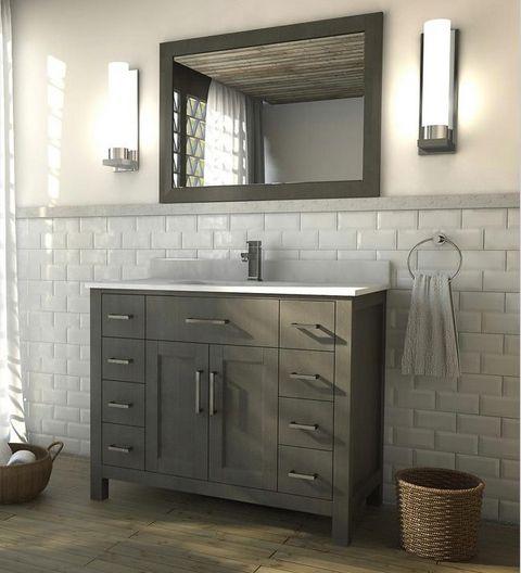 42 Inch French Gray Finish Bathroom Vanity 42 Inch Bathroom