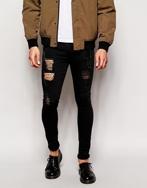 black ripped | pants | Pinterest | Skinny jeans, ASOS and Skinny