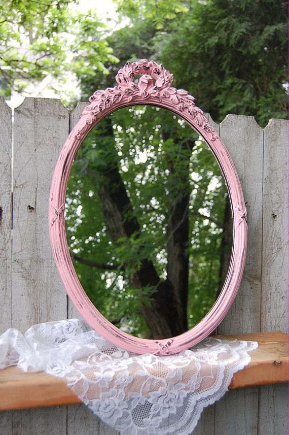Shabby Chic Mirror, Pink and Black, Wedding Decor, Oval on Etsy, $73.34 AUD