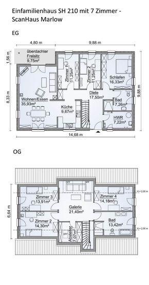 Grundriss Einfamilienhaus rechteckig mit Satteldach Architektur - kuche wohnzimmer offen modern