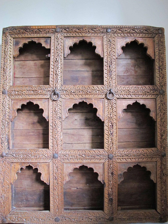 Carved Teak Magic Wardrobe.Ornate Hand Carved Teak Wood Antique Indian Shelf By