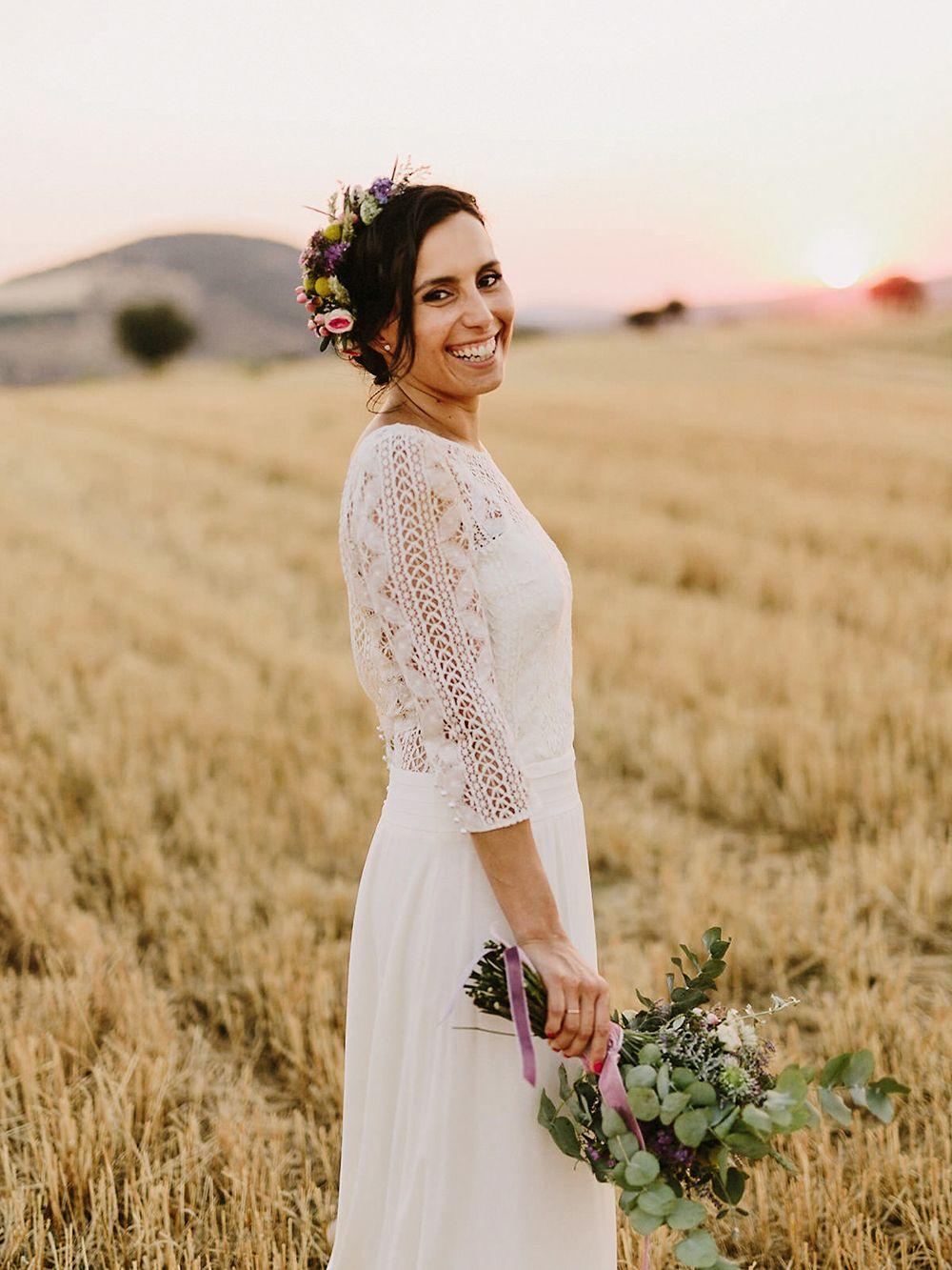 Laura de sagazan boho wedding dress with rachel simpson mimosa
