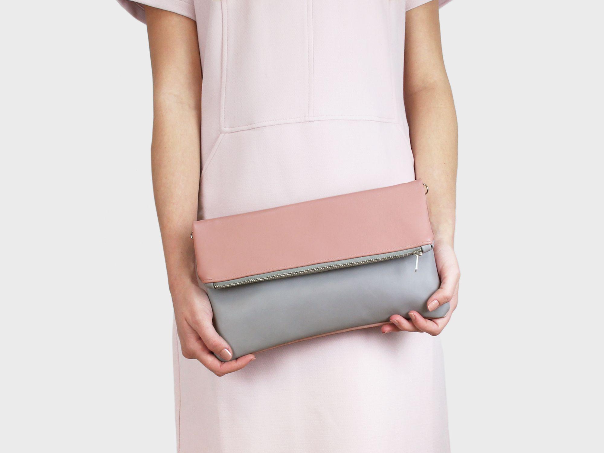 Foldover-Tasche Finja – Grau | Rosa | Foldover Finja | Umhängetaschen | TASCHEN | lille mus