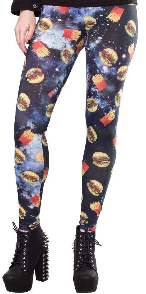 FAST FOOD LEGGINGS $19.00 #leggings #hamburgers #burgers #fries #galaxy
