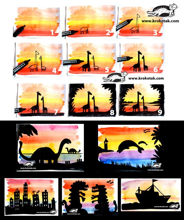 Easy Visual Arts: Sunset SILHOUETTES. Easy Step By Step Tutorial. My Kids