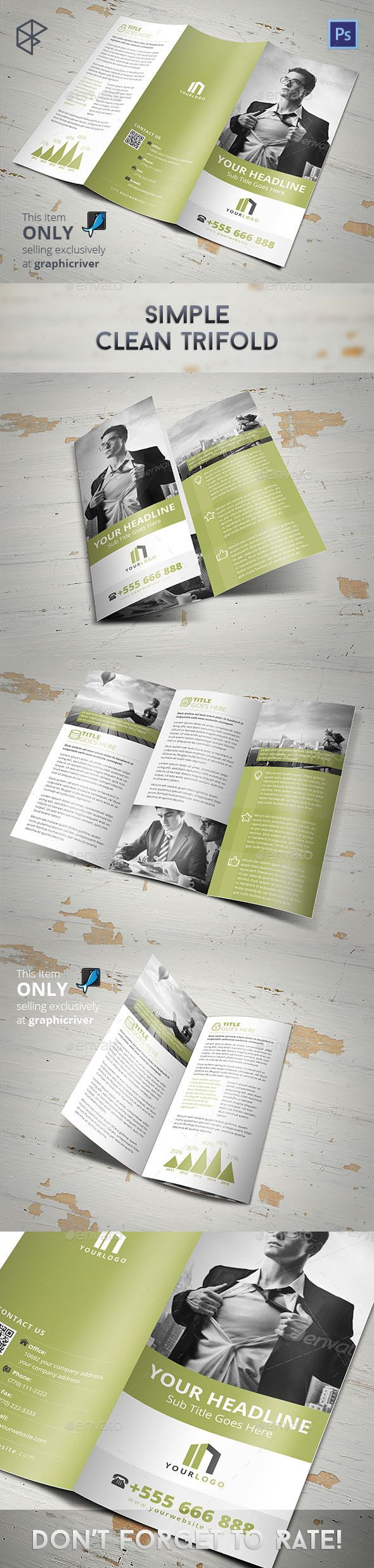 Simple Clean Trifold — Photoshop PSD #annual #letter • Available ...